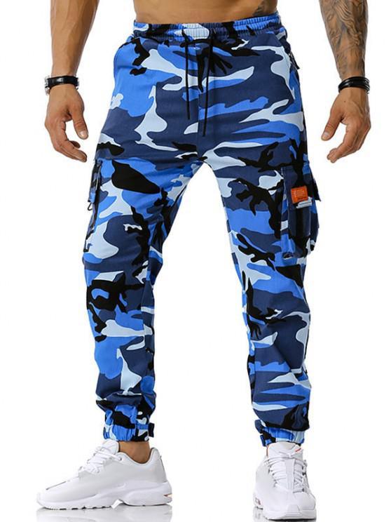 Camouflage Print Text Applique Cargo Pants - أزرق M