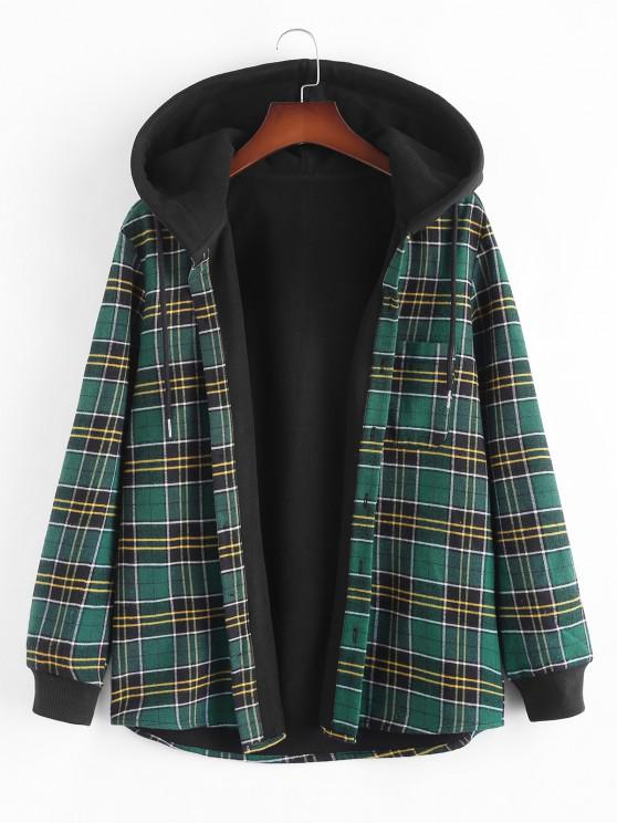 ladies Plaid Fleece Lined Hooded Shirt Jacket - DEEP GREEN M