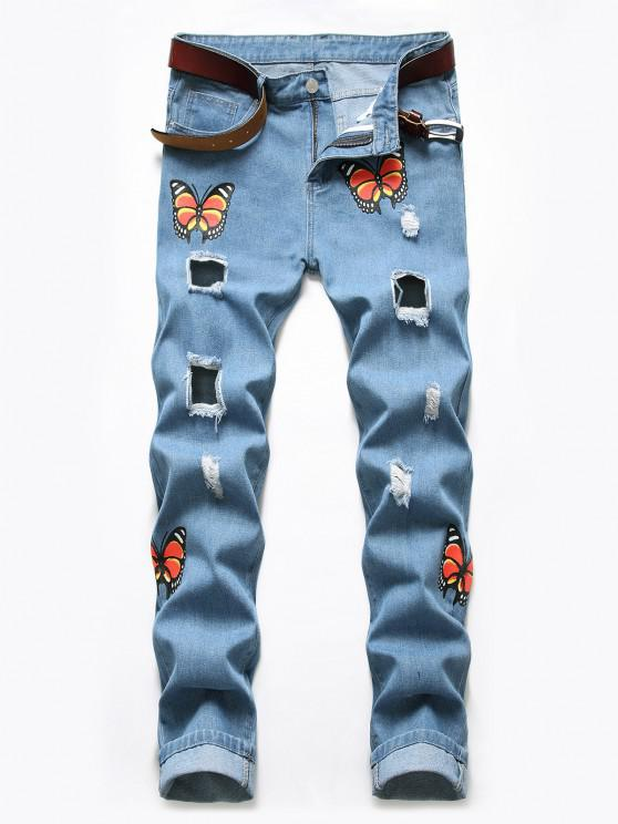 shops Distressed Destroy Wash Butterfly Jeans - BLUE KOI 36
