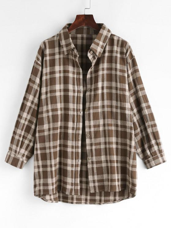 Plaid Drop Shoulder Button Up Shacket - قهوة M