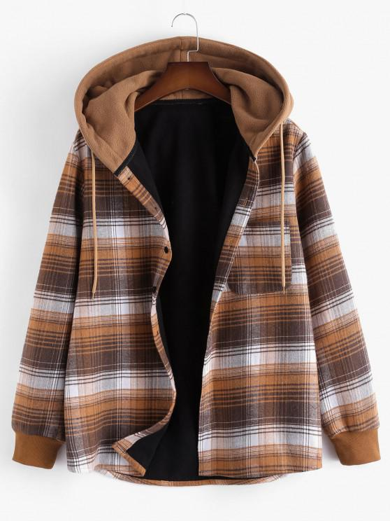 Hooded Button Up Plaid Print Pocket Fleece Jacket - بنى XL