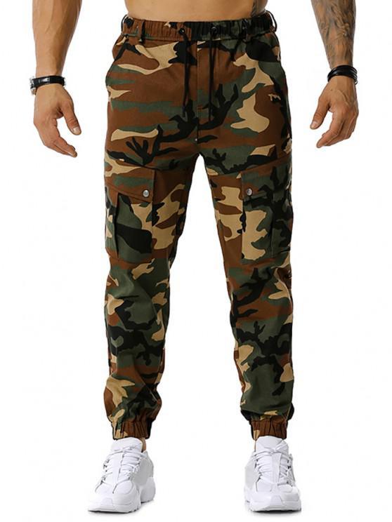 Pantalon Cargo Camouflage Imprimé à Cordon - Vert Armée  M