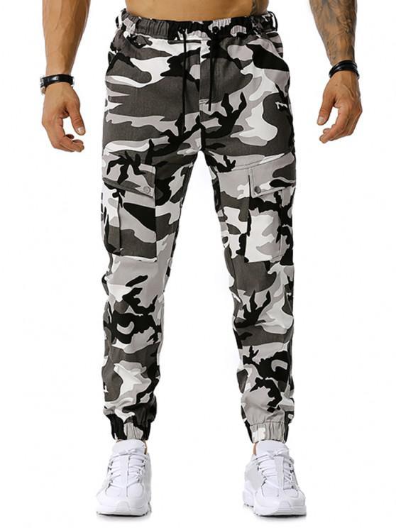 buy Camouflage Print Drawstring Cargo Pants - GRAY XL