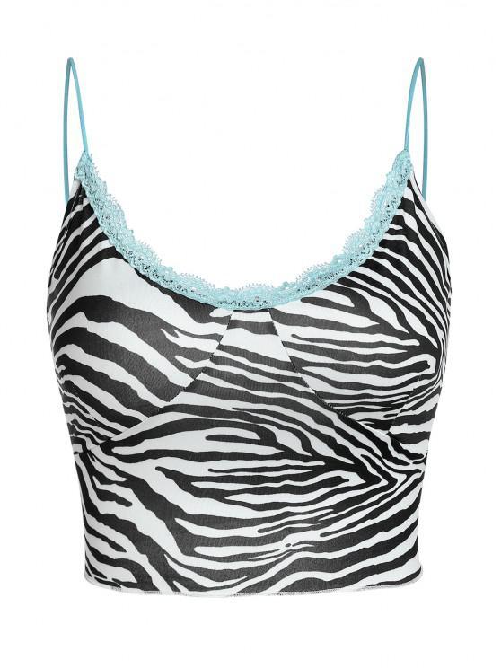 ZAFUL Zebra Crop Leibchen mit Spitzeneinsatz - Weiß L