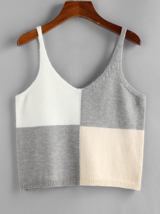 ZAFUL Colorblock V Neck Sweater Tank Top - أبيض L