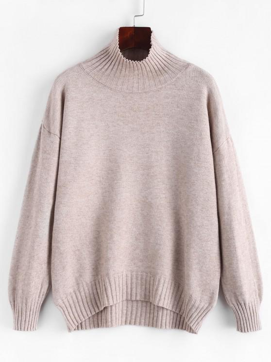 women's Drop Shoulder Funnel Neck Ribbed Trim Sweater - LIGHT COFFEE ONE SIZE