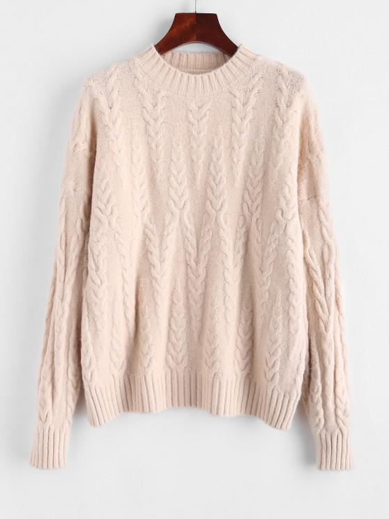 shops Drop Shoulder Cable Knit Solid Sweater - LIGHT COFFEE ONE SIZE