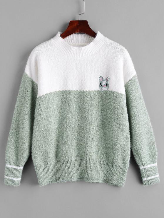 Flaumiger Hase Bestickter Farbblock Pullover - Grün Eine Größe