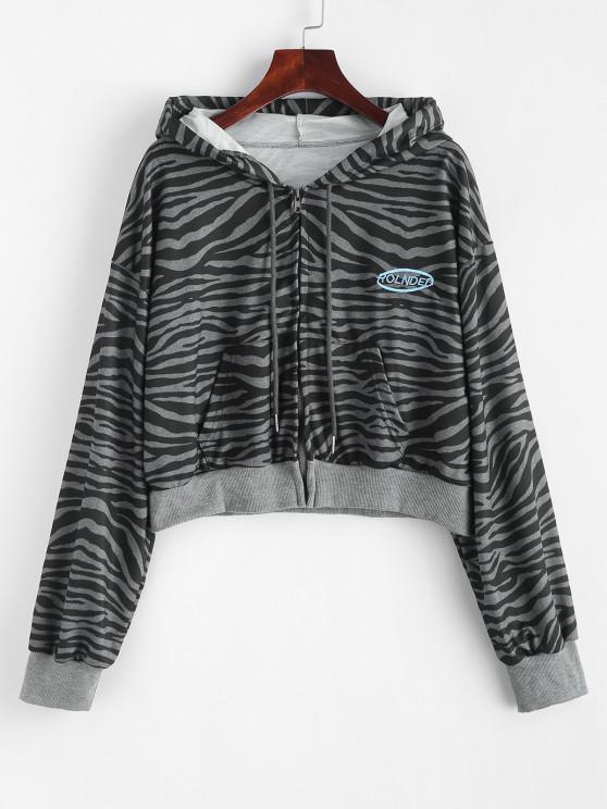 Zip Up Embroidered Zebra Print Hoodie - الرمادي الداكن حجم واحد