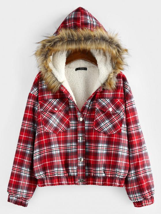 fancy ZAFUL Plaid Drop Shoulder Pocket Teddy Lined Parka Coat - RED M