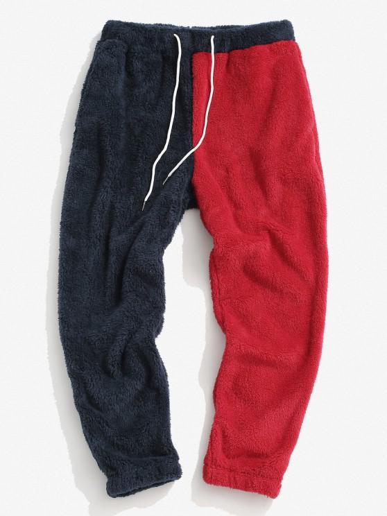 ZAFUL Pantalones Mullidos de Panel de Color Bloque - Azul Profundo L