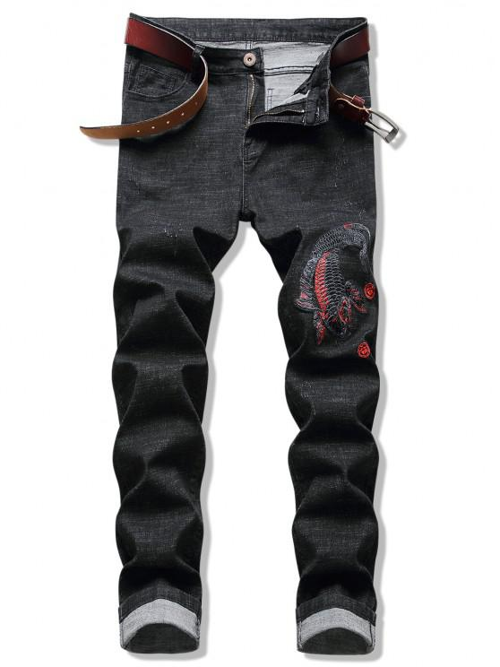 Embroidery Koi Fish Jeans - ليل 38