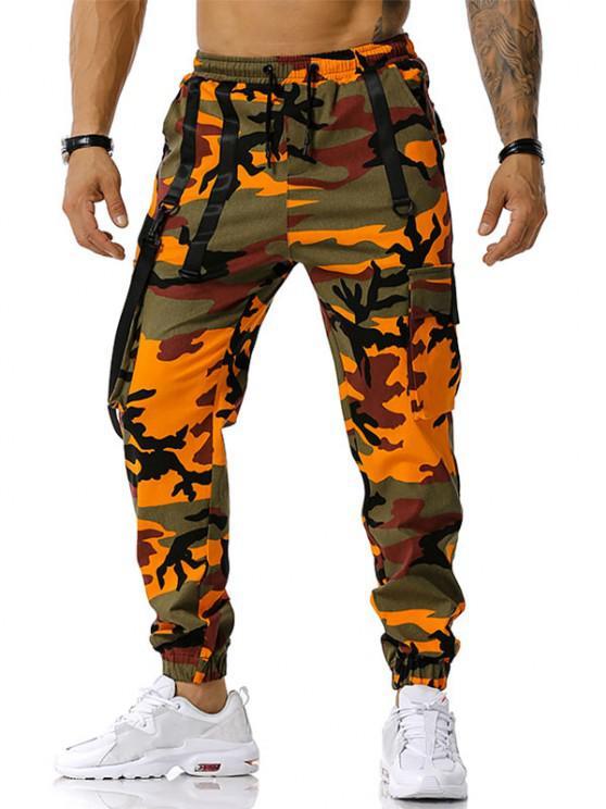 Camouflagedruck Haken Gurt Cargo Hose - Orange XL