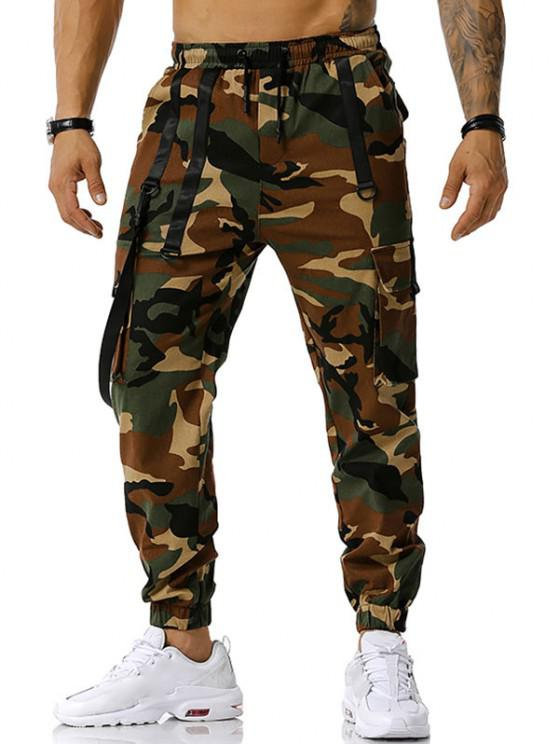 Camouflage Print Hook Strap Cargo Pants - الجيش الأخضر XL