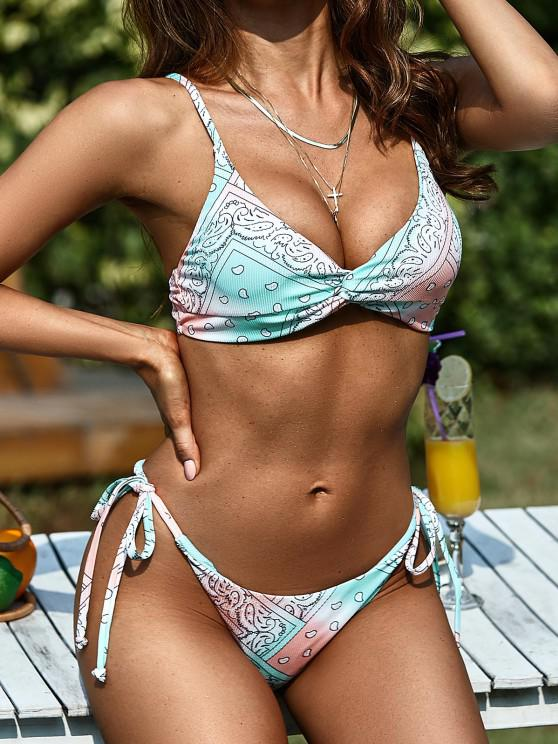 latest ZAFUL Ribbed Paisley Print Tie Dye Twist Tanga Bikini Swimwear - MULTI L