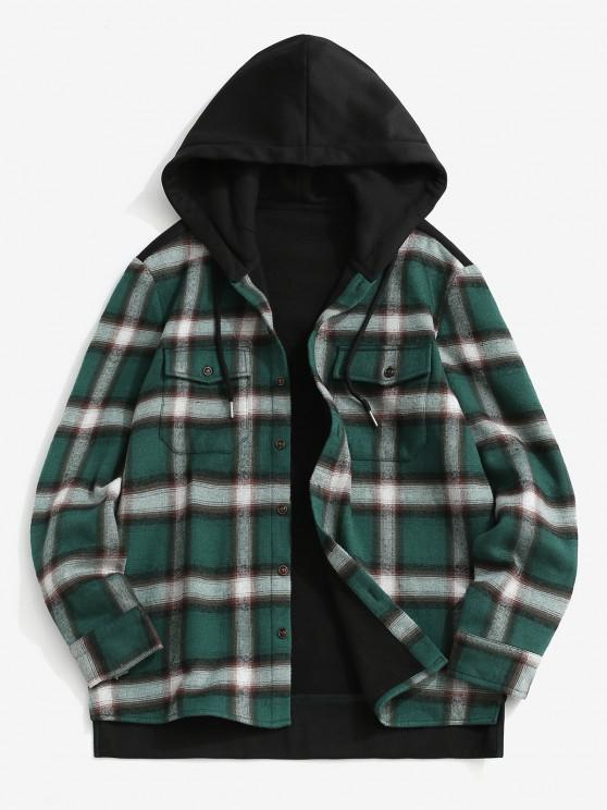 Fleece Lined Plaid Panel Pocket Hooded Shirt Jacket - أسود M