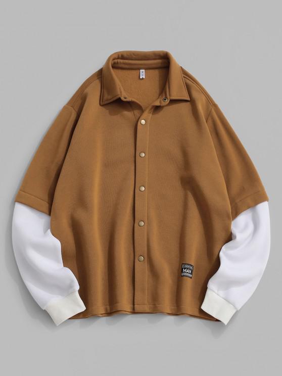 ZAFUL Contrast Doctor Sleeve Letter Applique Fleece Jacket - قهوة S