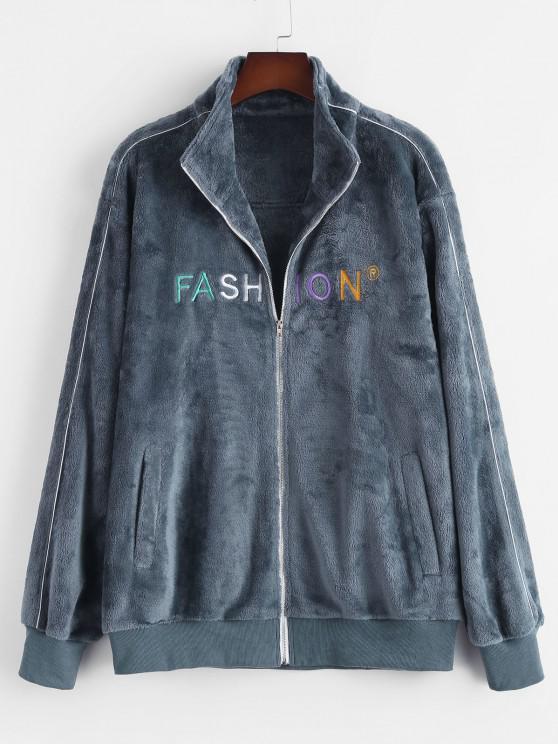 Zip Up FASHION Embroidered Fluffy Jacket - ازرق رمادي S