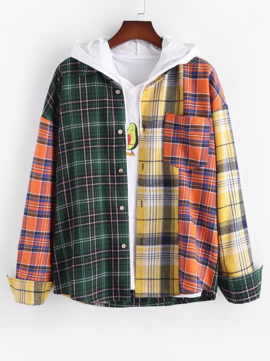 unique Contrast Plaid Pattern Button Up Pocket Shirt - MULTI L