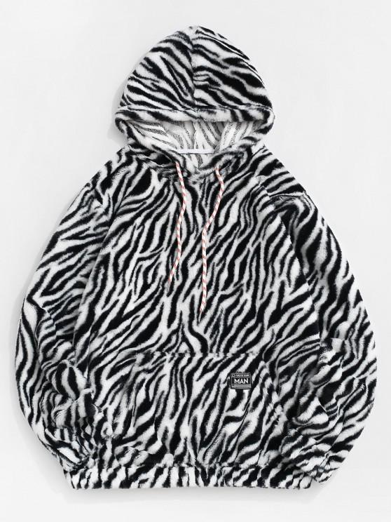 best Zebra Print Fluffy Hoodie - BLACK 2XL