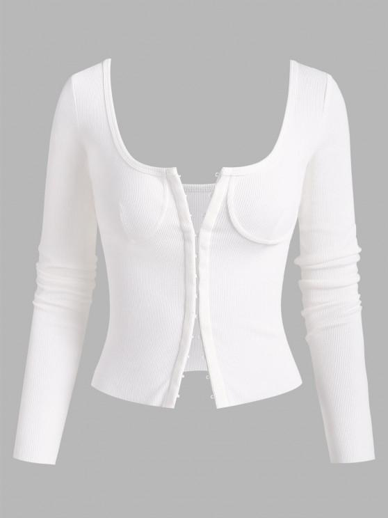 trendy Rib-knit Hook and Eye Long Sleeve Bustier Top - WHITE M