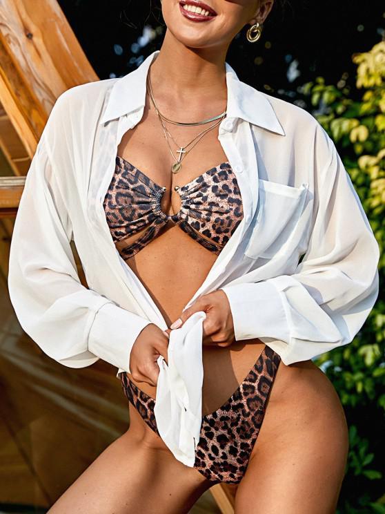 womens Chiffon See Thru Drop Shoulder Shirt Cover Up - WHITE M