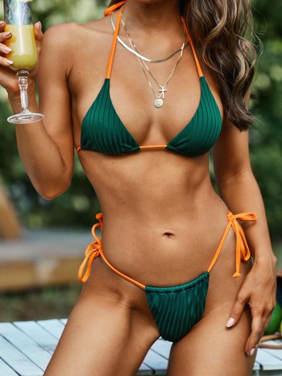 online ZAFUL Halter Wide Ribbed Neon Straps Tie String Bikini Swimwear - DEEP GREEN M
