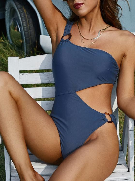 hot ZAFUL O Ring One Shoulder Cutout One-piece Swimsuit - DEEP BLUE S