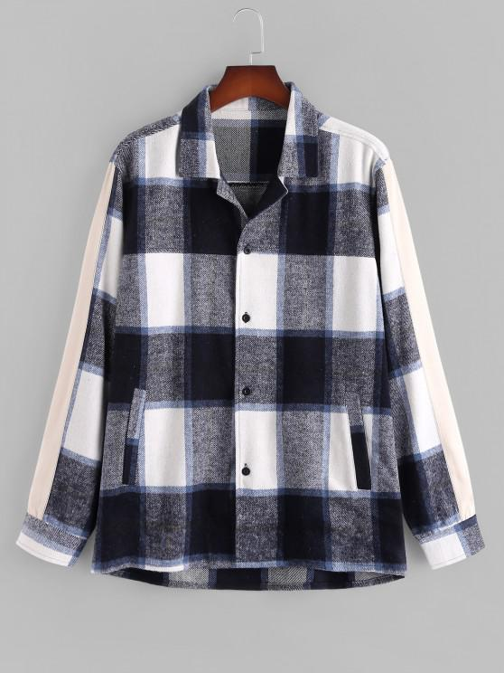 Button Up Plaid Patterned Flannel Jacket - متعدد L