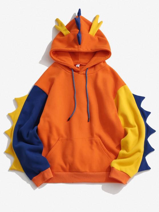 women Fleece Lined Colorblock Dinosaur Hoodie - ORANGE S