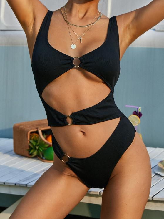 lady ZAFUL O-ring Ribbed Cut Out One-piece Swimsuit - BLACK S