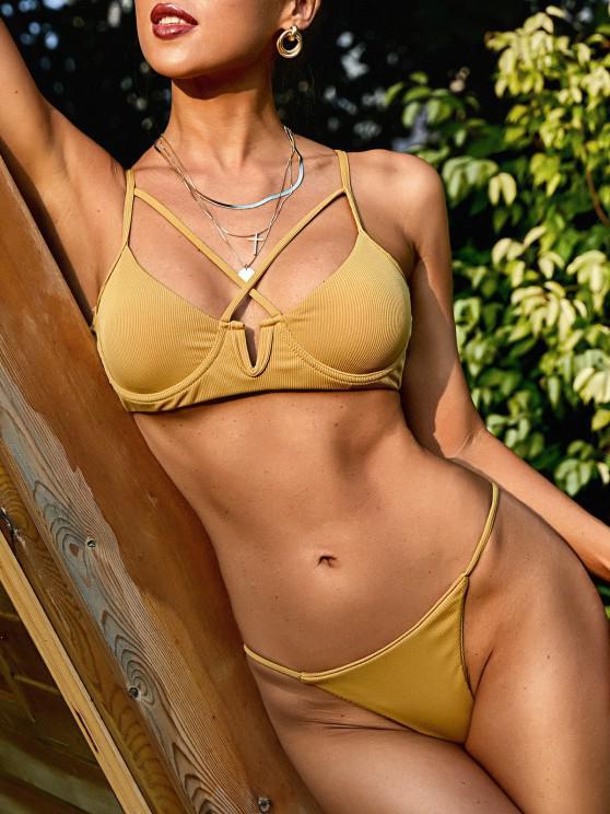 ZAFUL Criss Cross Ribbed V-wire Tanga Bikini Swimwear - اصفر غامق S