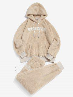 ZAFUL Letter Pattern Fluffy Hoodie And Pants Two Piece Set - Light Coffee 2xl