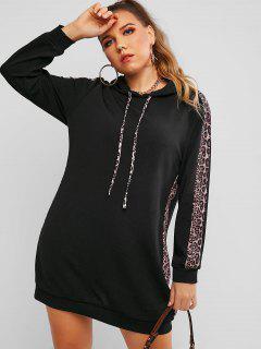 Vestido Sudadera Con Capucha Panel Estampado Leopardo Tamaño Plus - Negro 1xl