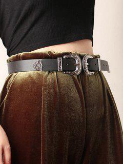 Retro Double Buckle Western Belt - Black