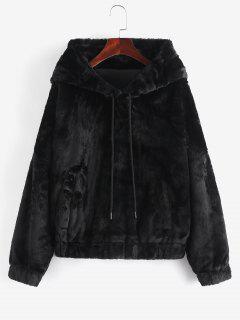 Pockets Fuzzy Faux Fur Hoodie Coat - Black M