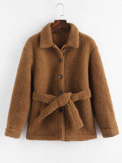 Faux Shearling Belted Pocket Teddy Jacket - Coffee Xs