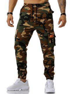 Camouflage Print Text Applique Cargo Pants - Army Green L