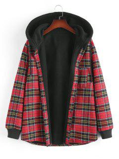 Plaid Fleece Lined Hooded Shirt Jacket - Red S