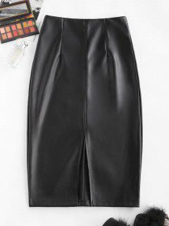 Front Slit Back Zipper Faux Leather Skirt - Black M