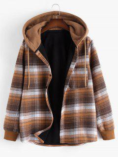 Hooded Button Up Plaid Print Pocket Fleece Jacket - Brown Xl