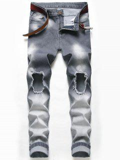 Jeans Descoloridos Desgastados - Gris Carbón 38