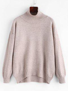 Drop Shoulder Funnel Neck Ribbed Trim Sweater - Light Coffee