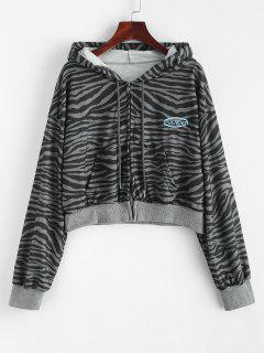 Zip Up Embroidered Zebra Print Hoodie - Dark Gray