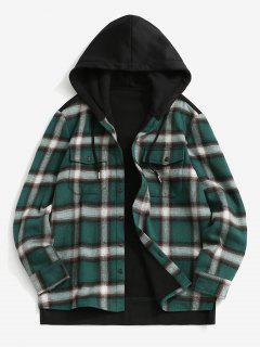 Fleece Lined Plaid Panel Pocket Hooded Shirt Jacket - Black Xl
