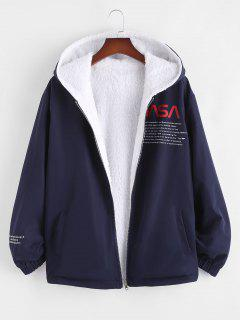 Faux Fur Fluffy Letter Print Reversible Hooded Jacket - Deep Blue S