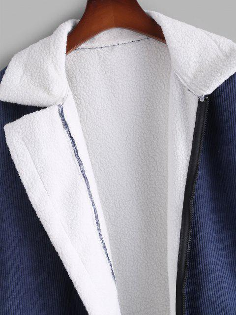 Veste en Laine Contrastée Applique Détaillé en Velours Côtelé - Bleu profond 2XL Mobile