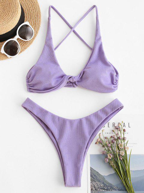 ZAFUL Bikini de Corte Alto con Textura Acanalada - purpúreo claro S Mobile