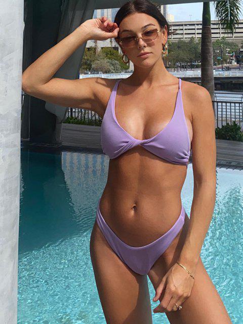 JessicaStockstillXZAFUL Maillot de Bain Bikini TexturéTordu à Coupe Haute - Violet clair M Mobile