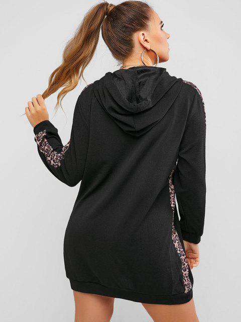 Vestido Sudadera con Capucha Panel Estampado Leopardo Tamaño Plus - Negro 1XL Mobile